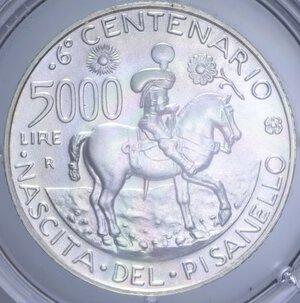 reverse: 5000 LIRE 1995 PISANELLO AG. 18 GR. IN COFANETTO FDC