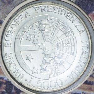 reverse: 5000 LIRE 1996 PRESIDENZA ITALIANA EUROPEA AG. 18 GR. IN FOLDER FDC