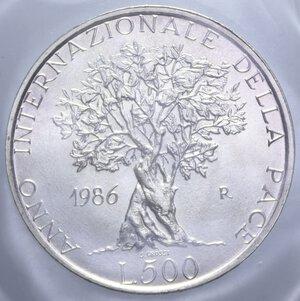 reverse: 500 LIRE 1986 PACE AG. 11 GR. IN ASTUCCIO FDC