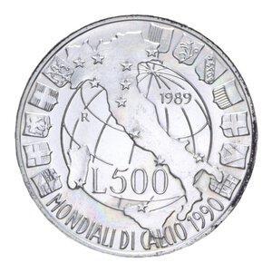 reverse: 500 LIRE 1989 MONDIALI CALCIO AG. 11 GR. FDC