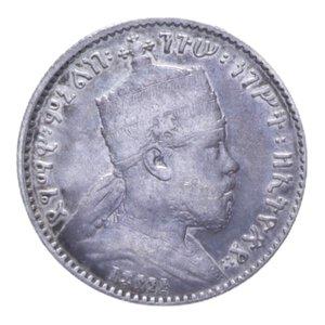 obverse: ETIOPIA MENELIK II GERSH 1895 A AG. 1,36 GR. BB/BB+