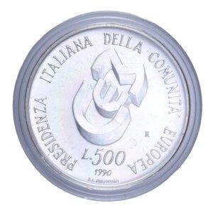 reverse: 500 LIRE 1990 PRESIDENZA ITALIANA EUROPEA AG. 11 GR. IN COFANETTO FDC