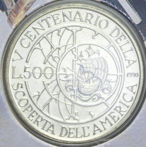 reverse: 500 LIRE 1990 2° EMISSIONE SCOPERTA AMERICA AG. 11 GR. IN FOLDER FDC