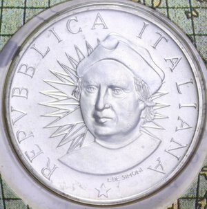 obverse: 500 LIRE 1991 3° EMISSIONE SCOPERTA AMERICA AG. 11 GR. IN FOLDER FDC