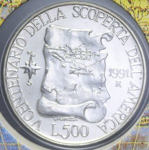 reverse: 500 LIRE 1991 3° EMISSIONE SCOPERTA AMERICA AG. 11 GR. IN FOLDER FDC