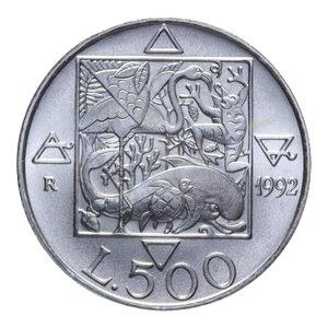 reverse: 500 LIRE 1992 FLORA E FAUNA AG. 14,98 GR. FDC