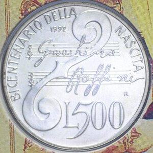 reverse: 500 LIRE 1992 GIOACCHINO ROSSINI AG. 15 GR. IN FOLDER FDC