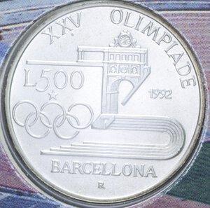 reverse: 500 LIRE 1992 OLIMPIADE BARCELLONA AG. 15 GR. IN FOLDER FDC