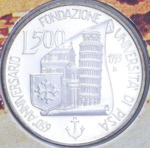 reverse: 500 LIRE 1993 UNIVERSITA  DI PISA AG. 15 GR. IN FOLDER FDC
