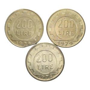 reverse: 200 LIRE LAVORO LOTTO TRE MONETE CON VARIANTI VARIE CONSERVAZIONI
