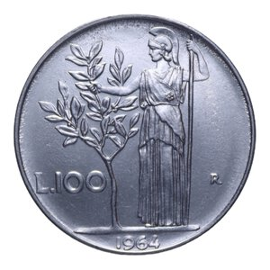 reverse: 100 LIRE 1964 MINERVA 7,97 GR. FDC (SEGNETTI AL D/)