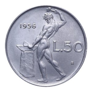 reverse: 50 LIRE 1956 VULCANO AC 6,32 GR. qFDC/FDC (SEGNETTI AL D/)