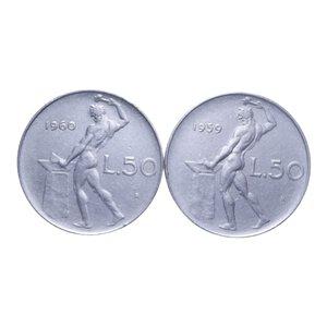 reverse: 50 LIRE 1959 E 1960 VULCANO NC LOTTO 2 MONETE BB