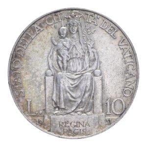 reverse: PIO XI (1929-1938) 10 LIRE 1931 AG. 10,03 GR. BB+