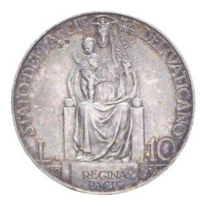 reverse: PIO XI (1929-1938) 10 LIRE 1936 AG. 9,99 GR. BB+