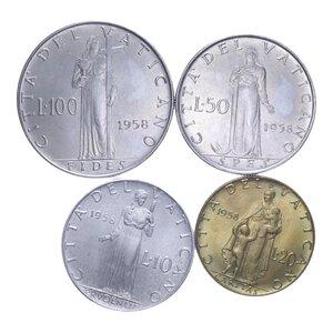 reverse: PIO XII (1939-1958) SERIE 4 VALORI 1958 SENZA FOLDER FDC