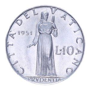 reverse: PIO XII (1939-1958) 10 LIRE 1951 1,6 GR. FDC
