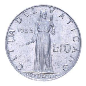 reverse: PIO XII (1939-1958) 10 LIRE 1953 1,6 GR. SPL-FDC