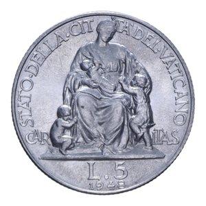 reverse: PIO XII (1939-1958) 5 LIRE 1948 2,53 GR. FDC (SEGNETTI)