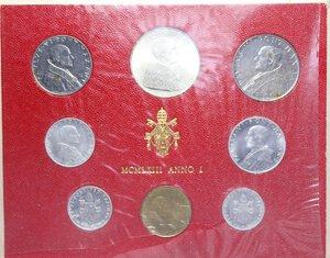 reverse: PAOLO VI (1963-1978) SERIE 8 VALORI 1963 CON 500 LIRE AG. IN FOLDER FDC