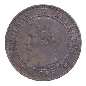 obverse: FRANCIA NAPOLEONE III 2 CENT. 1855 A CU 1,98 GR. qSPL