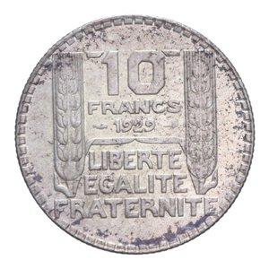 reverse: FRANCIA REPUBBLICA 10 FRANCHI 1929 AG. 9,99 GR. SPL+