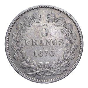reverse: FRANCIA REPUBBLICA 5 FRANCHI 1870 K AG. 24,96 GR. BB+