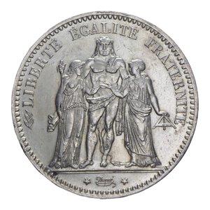 obverse: FRANCIA REPUBBLICA 5 FRANCHI 1876 A AG. 25,03 GR. BB+