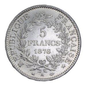 reverse: FRANCIA REPUBBLICA 5 FRANCHI 1876 A AG. 25,03 GR. BB+