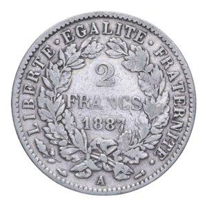 reverse: FRANCIA REPUBBLICA 2 FRANCHI 1887 A AG. 9,79 GR. BB