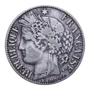 obverse: FRANCIA REPUBBLICA 1 FRANC 1887 A AG. 4,88 GR. BB