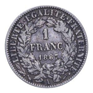 reverse: FRANCIA REPUBBLICA 1 FRANC 1887 A AG. 4,88 GR. BB