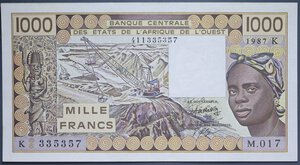 reverse: AFRICA DELL OVEST 1000 FRANCHI 1987 SUP