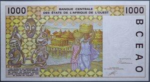 obverse: AFRICA DELL OVEST 1000 FRANCHI qFDS
