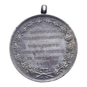 obverse: MEDAGLIA VITT. EMANUELE III COMMEMORATIVA TERREMOTO CALABRO-SICULO 1908 AG. 15 GR. 30 MM. BB+ (COLPO)