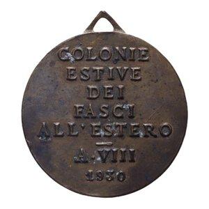 obverse: MEDAGLIA 1930 COLONIE ESTIVE FASCI ALL ESTERO AE 7 GR. 24 MM. BB+