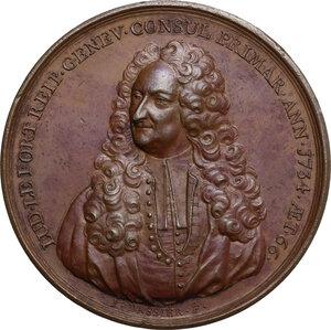 obverse: Louis Le Fort (1668-1748), Chief Burgomaster di Ginevra.. Medaglia 1734