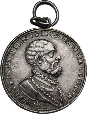 obverse: Rudolf Brun (1290s-1360), primo sindaco di Zurigo.. Medaglia 1736 per il 400° anniversario della Costituzione