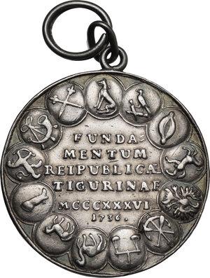 reverse: Rudolf Brun (1290s-1360), primo sindaco di Zurigo.. Medaglia 1736 per il 400° anniversario della Costituzione