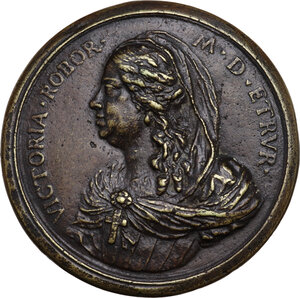 obverse: Vittoria della Rovere (1622-1695). Medaglia della Serie Medicea (1740), bordo modanato