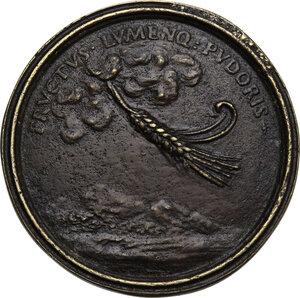 reverse: Cristina di Lorena (1565-1636) moglie di Ferdinando I de  Medici. Medaglia della Serie Medicea (1740), bordo modanato