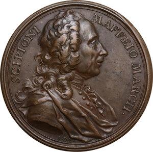 obverse: Scipione Maffei (1675-1755), storico e drammaturgo veronese.. Medaglia per la morte, 1755