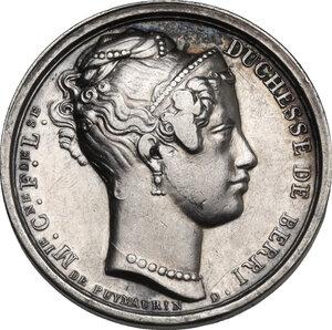 obverse: Maria Carolina Ferdinanda di Borbone (1798-1870) Duchessa di Berry. . Gettone per la nascita del figlio Enrico, conte di Bordeaux. Datata 1828