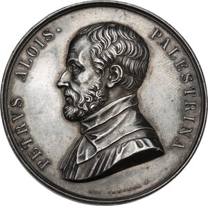 obverse: Pierluigi Palestrina (1525-1594).. Medaglia, XIX sec