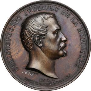 obverse: Christophe Juchault de la Moricière (1806-1865), Generale dell Esercito Pontificio.. Medaglia 1860 per celebrare il servizio nell Esercito Pontificio