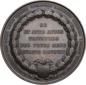reverse: Christophe Juchault de la Moricière (1806-1865), Generale dell Esercito Pontificio.. Medaglia 1860 per celebrare il servizio nell Esercito Pontificio