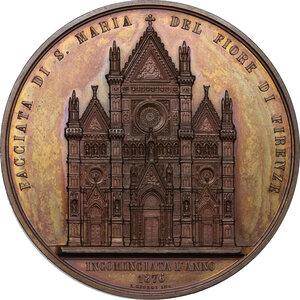 reverse: Emilio de Fabris (1807-1883), architetto. . Medaglia 1876, per l inizio dei lavori alla facciata di Santa Maria del Fiore