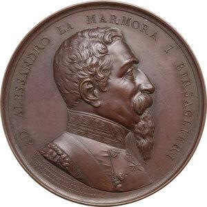 obverse: Alessandro La Marmora (1799-1855). . Medaglia 1886, per il 50° Anniversario della fondazione del Corpo del Bersaglieri