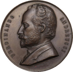 obverse: Ferdinando Andreucci (1806-1888), politico.. Medaglia 1888 in memoria