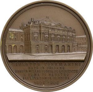 reverse: Giuseppe Piermarini (1734-1808), architetto.. Medaglia 1908 per il primo centenario della morte
